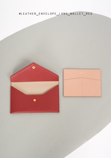Leather Envelope Long Wallet Red