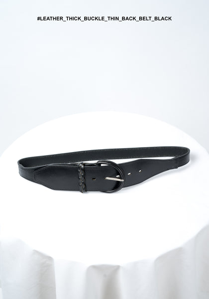 Leather Thick Buckle Thin Back Belt Black