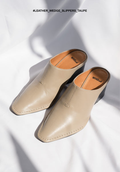 Leather Wedge Slippers Taupe