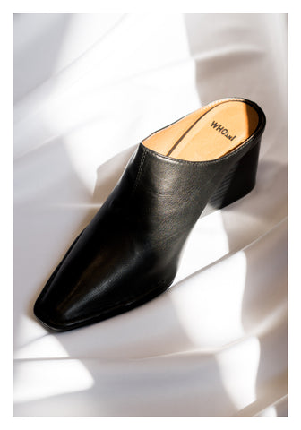 Leather Wedge Slippers Black