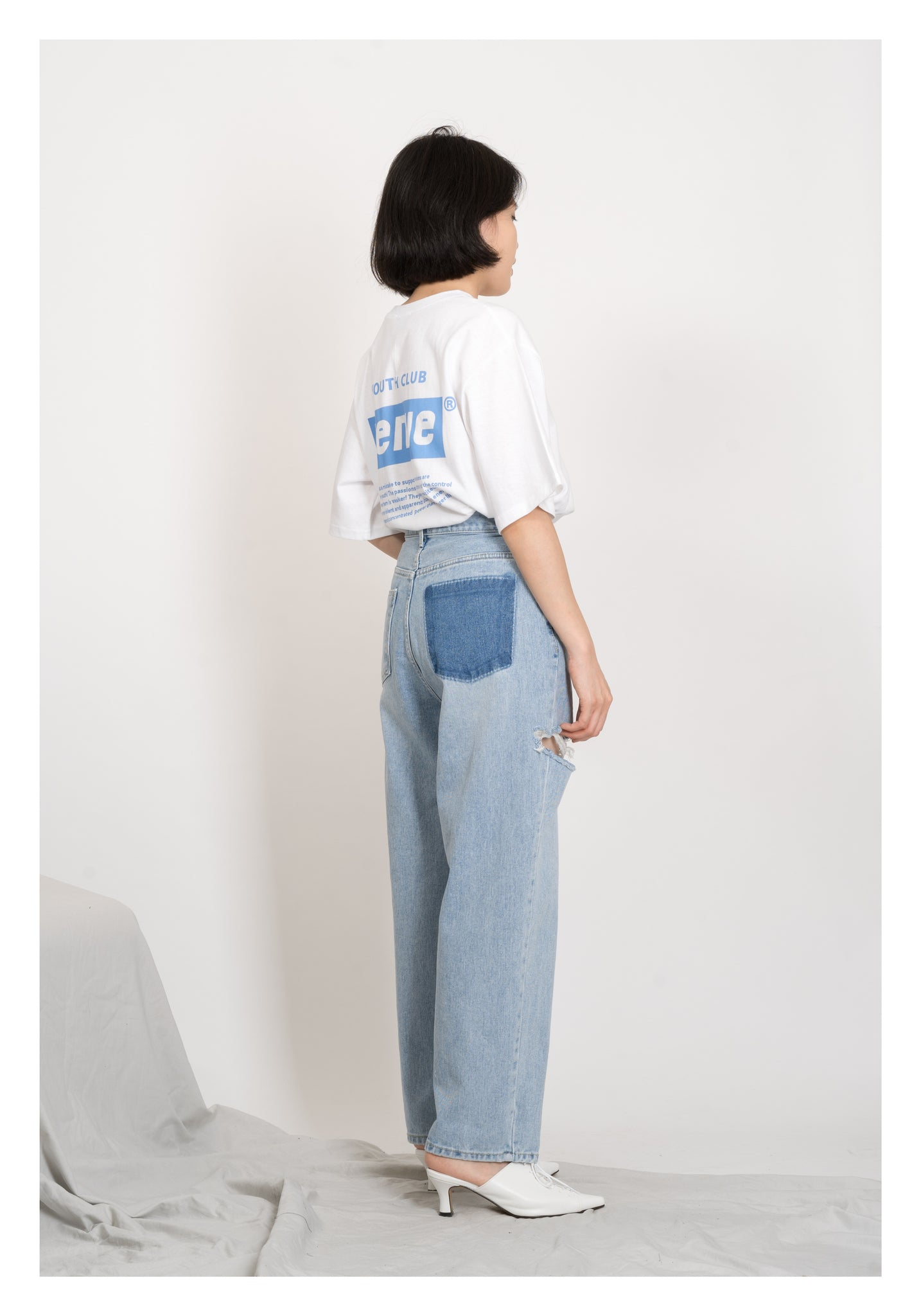 Light Color Loose Straight Cut Broken Jeans - whoami