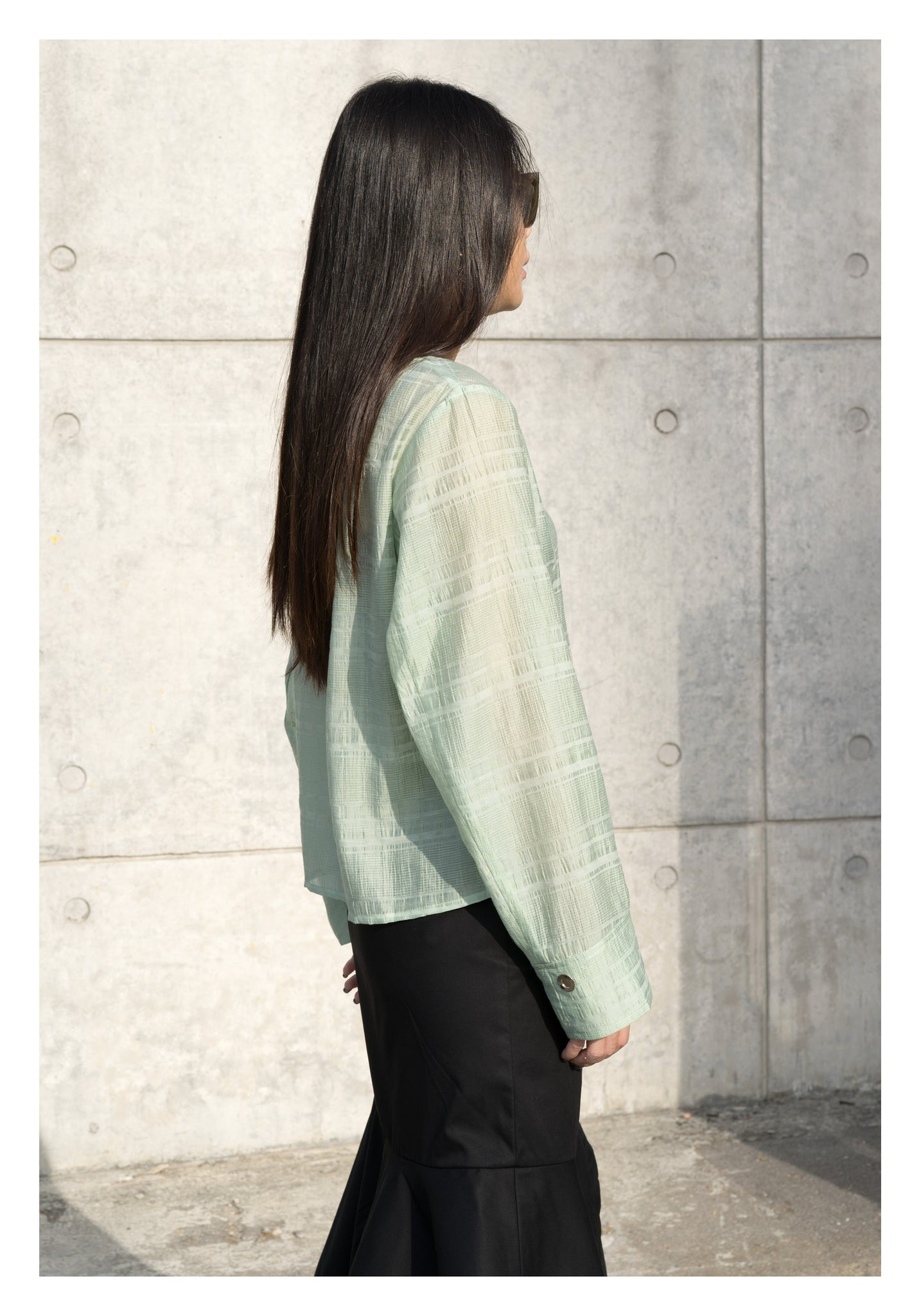 Light Jacquard Eyelet Blouse Mint