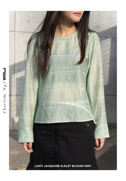 Light Jacquard Eyelet Blouse Mint - whoami