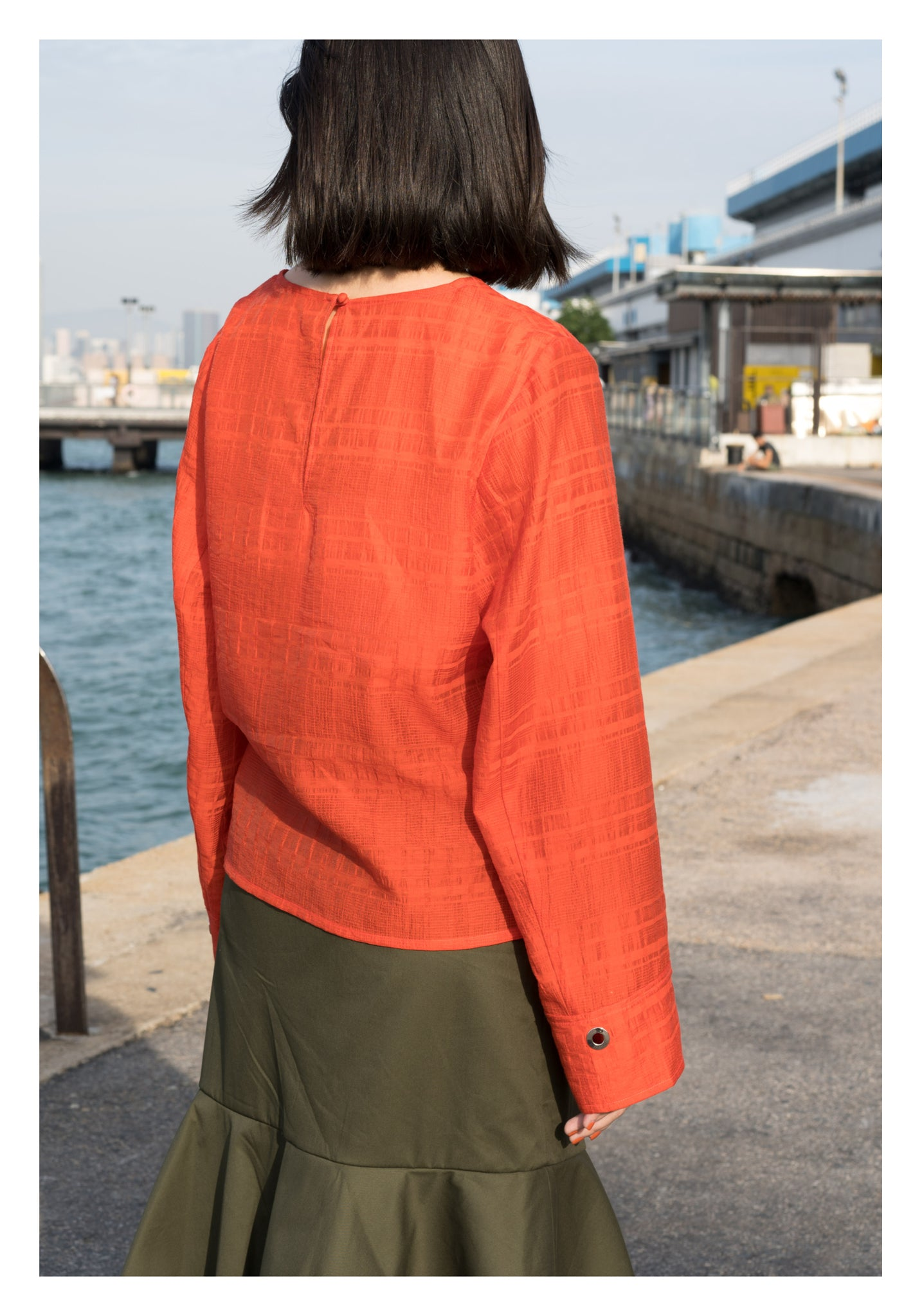 Light Jacquard Eyelet Blouse Orange - whoami