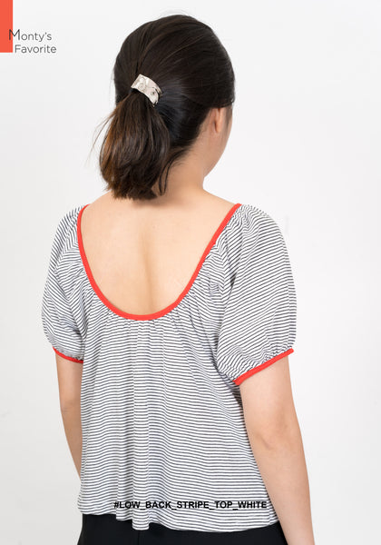 Low Back Stripe Tee White