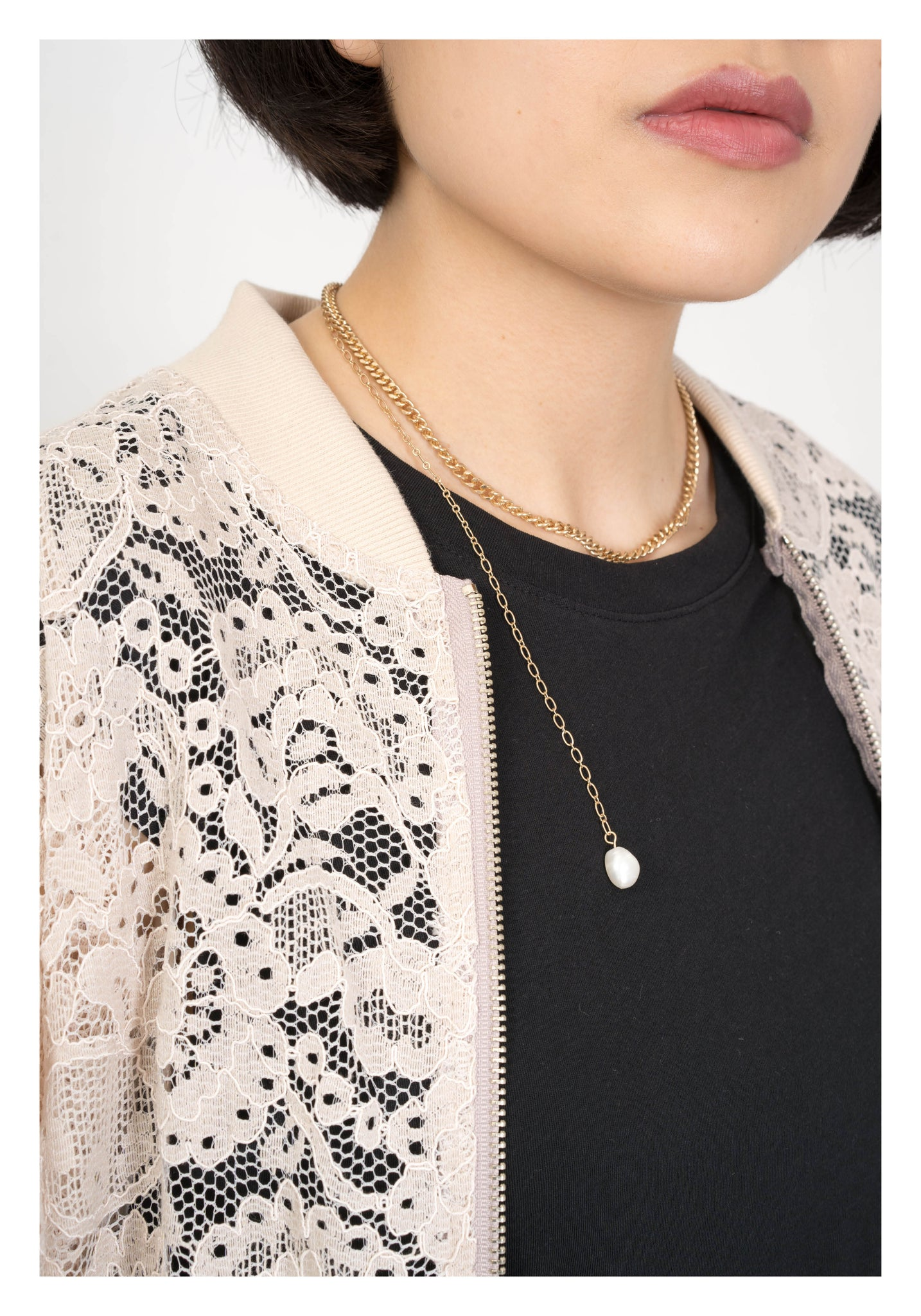 Lace Pocket Zip Up Jacket Beige - whoami