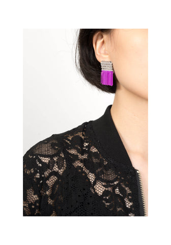 Sparkle Thick Fringe Earrings Purple