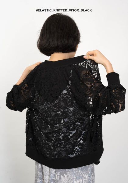 Lace Pocket Zip Up Jacket Black - whoami