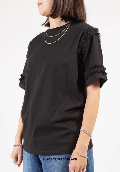 Lace Trim Tee Black