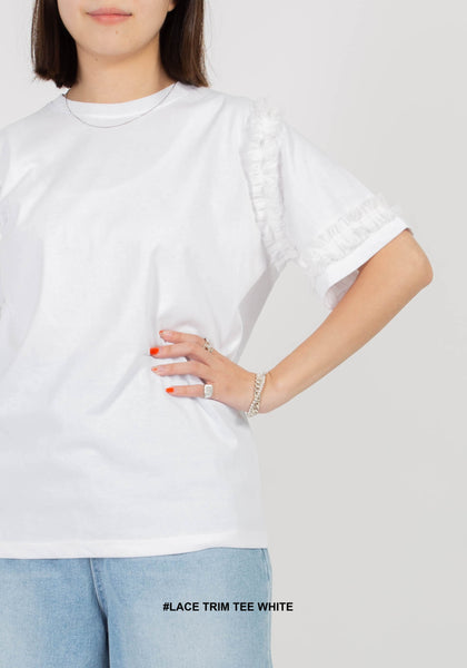 Lace Trim Tee White
