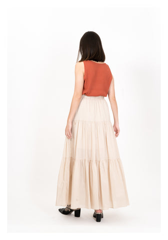 Light Tiered Maxi Skirt Beige