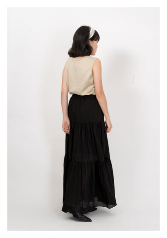 Light Tiered Maxi Skirt Black