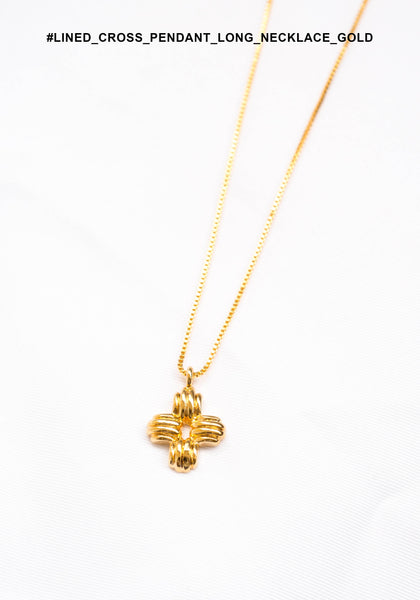 Lined Cross Pendant Long Necklace Gold - whoami