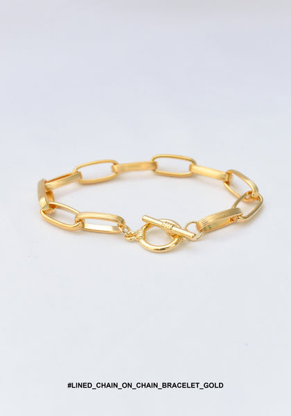 Lined Chain On Chain Bracelet Gold - whoami