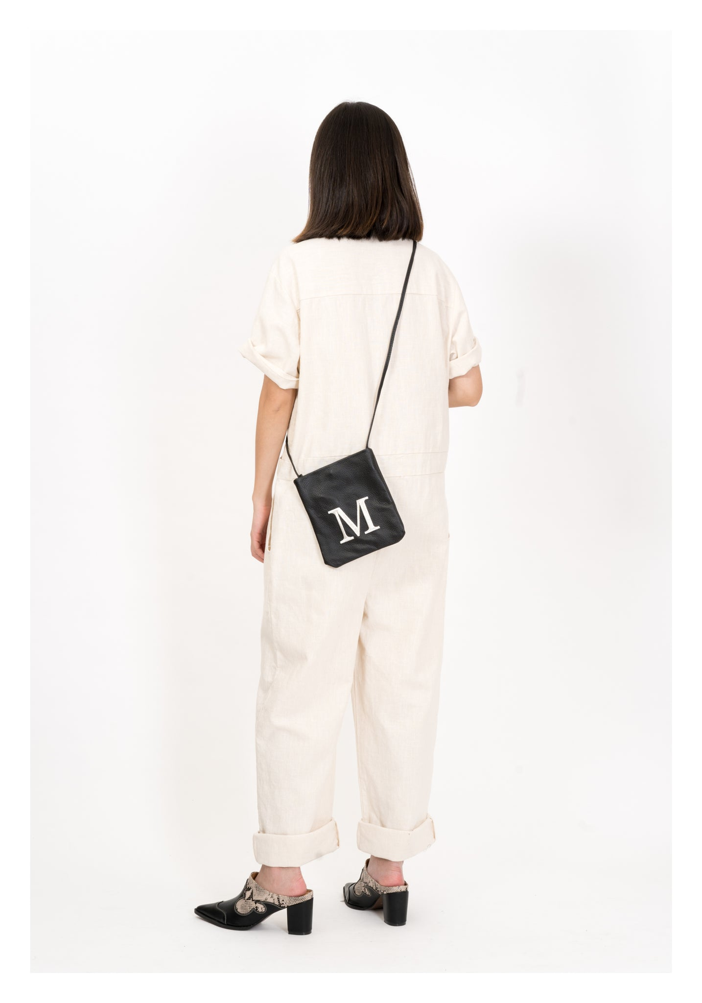 Embroidered Alphabet Leather Mini Bag M - whoami