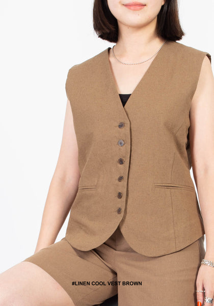 Linen Cool Vest Brown