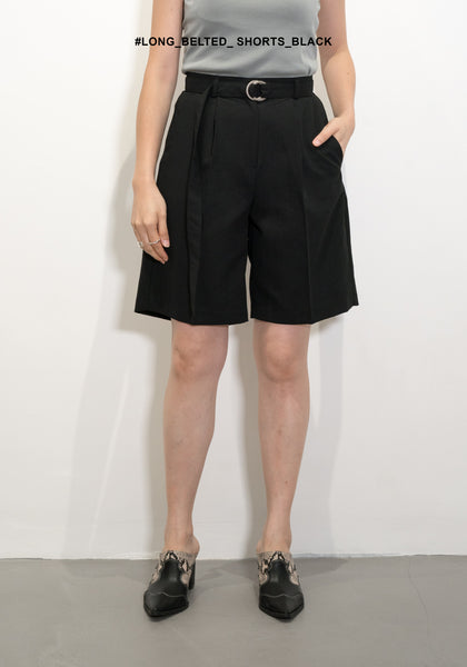 Long Belted Shorts Black