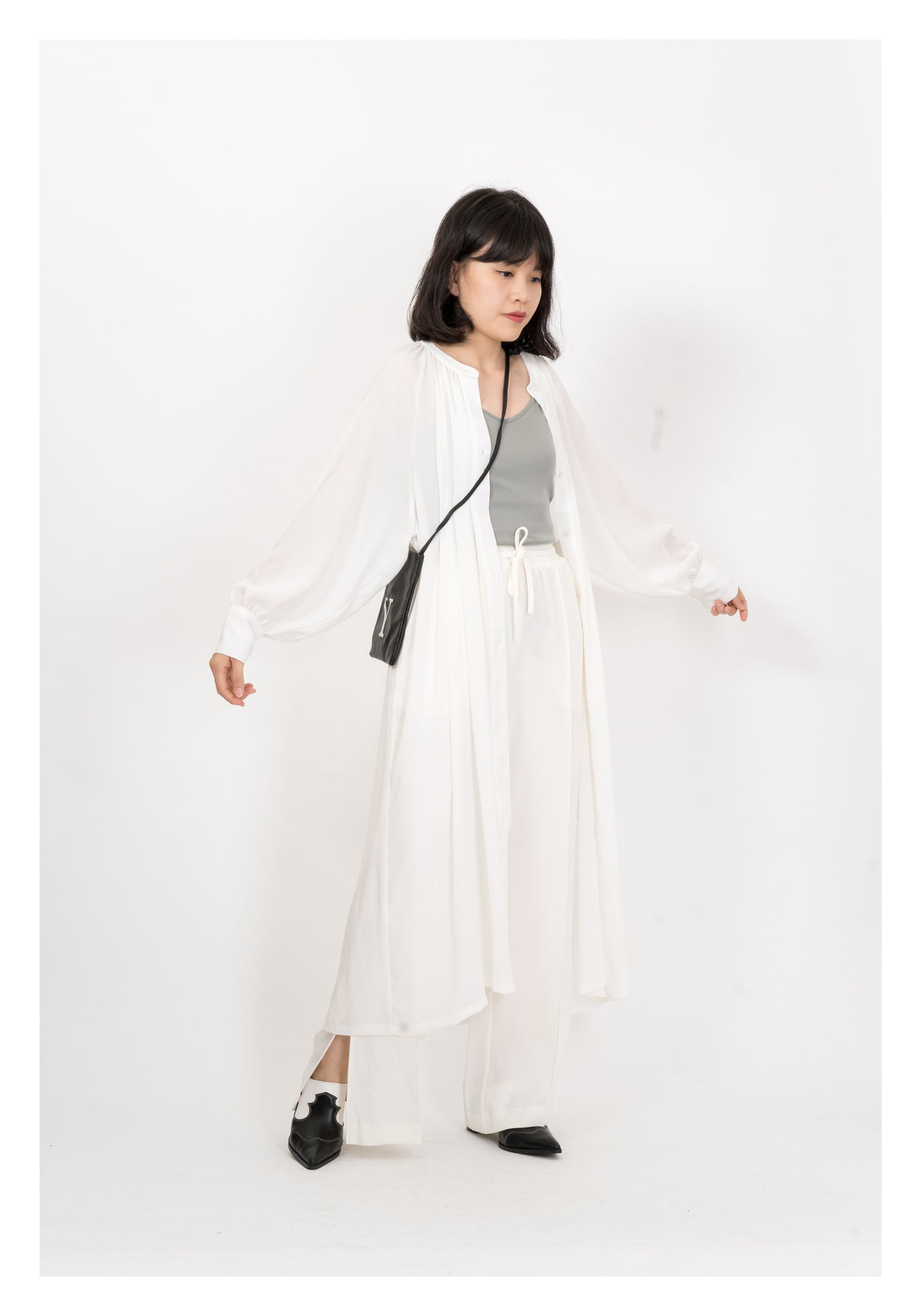 Long Light Chiffon Dress White