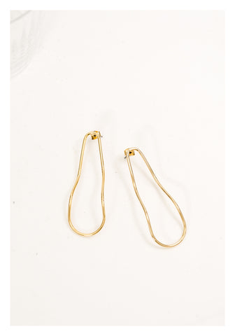 Long Organic Wire Earrings Gold - whoami