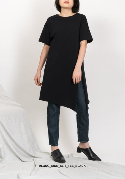 Long Side Slit Tee Black