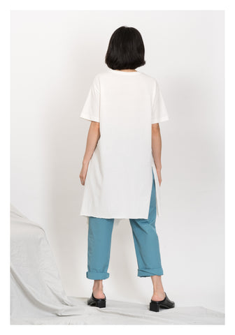 Long Side Slit Tee White