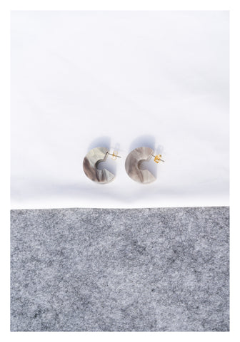 Marble Grey Circular Earrings