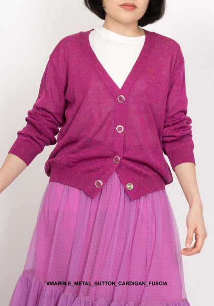 Marble Metal Button Cardigan Fuscia - whoami
