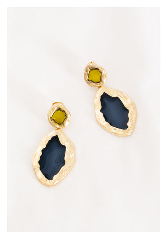Matt Glassy Bold Earrings Navy - whoami