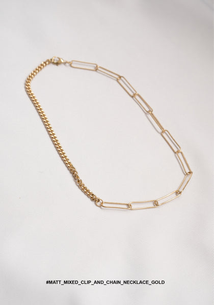 Matt Mixed Clip And Chain Necklace Gold - whoami