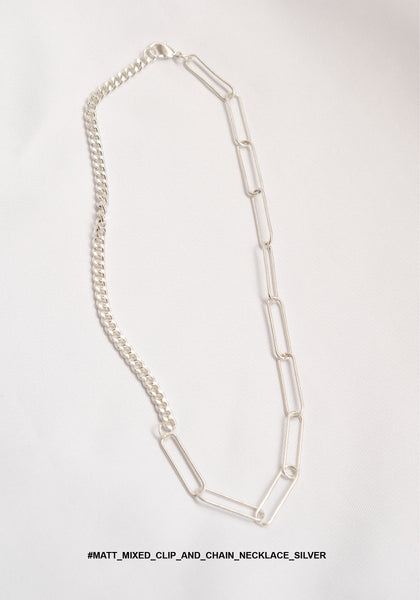 Matt Mixed Clip And Chain Necklace Silver - whoami
