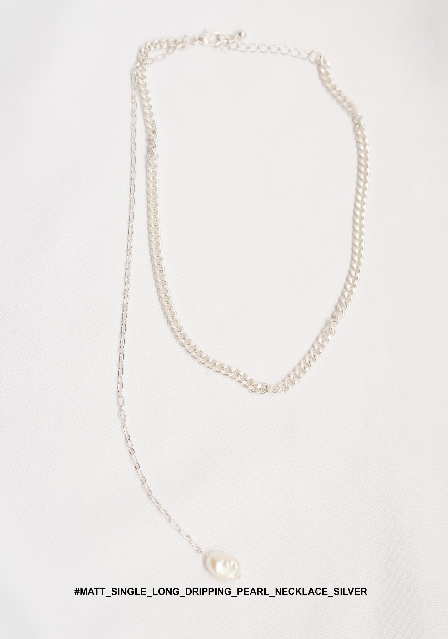Matt Single Long Dripping Pearl Necklace Silver - whoami