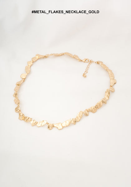 Metal Flakes Necklace Gold