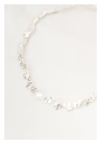 Metal Flakes Necklace Silver