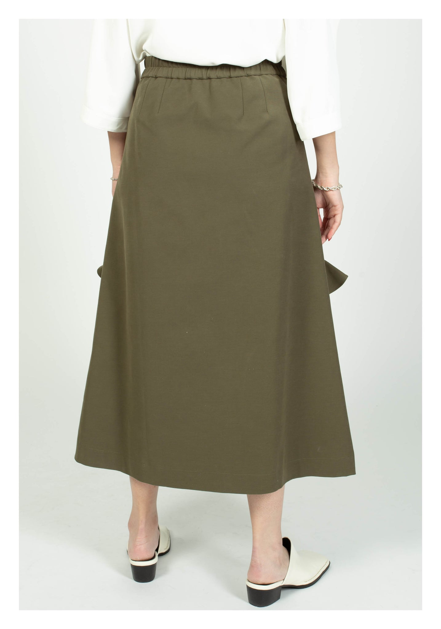 Ruffle Trims Just Fit A-Line Skirt Military Green