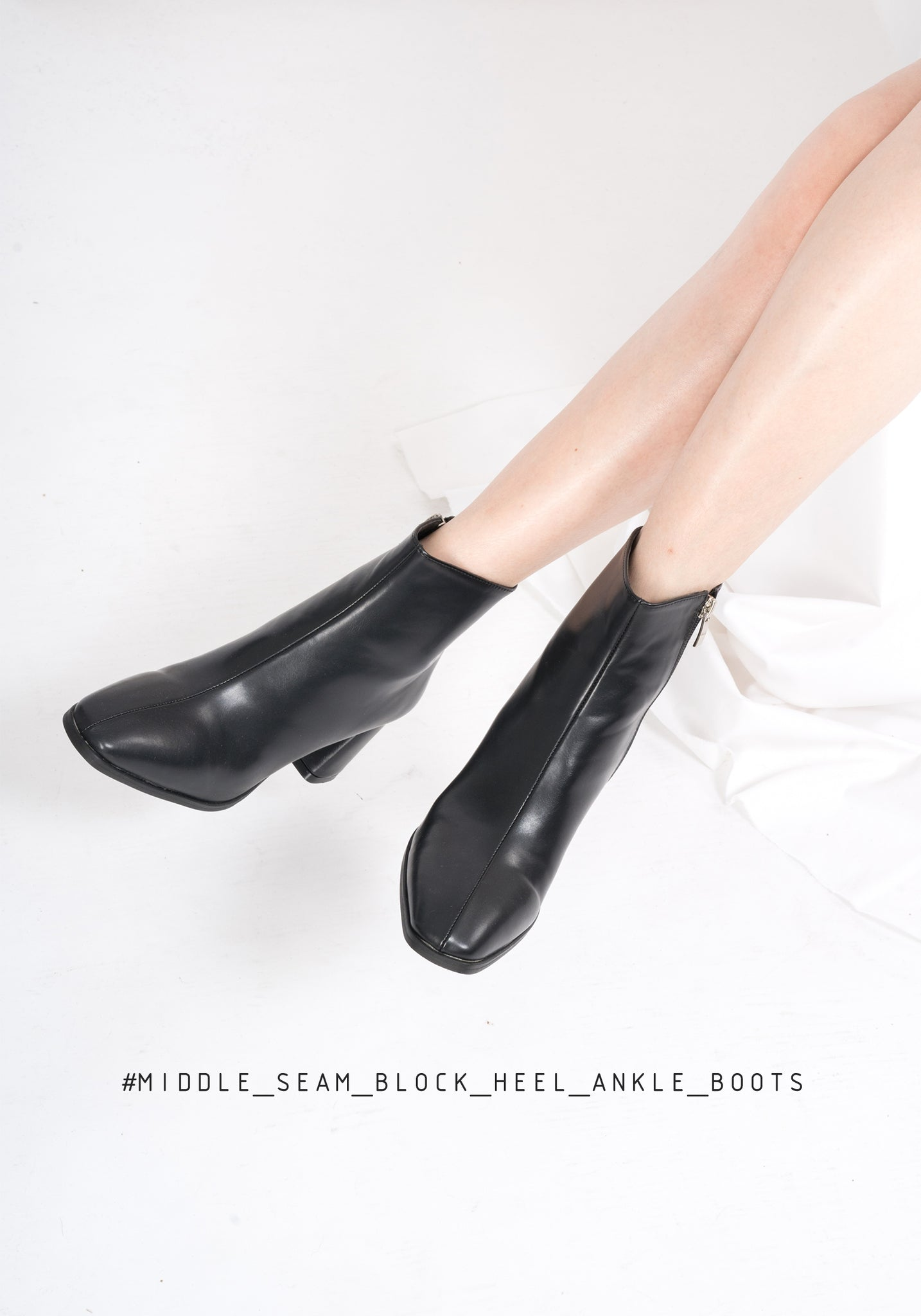 Middle Seam Block Heel Ankle Boots
