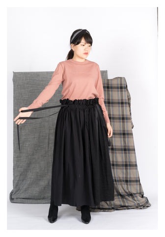 Mixed Black Unfinished Edge Skirt