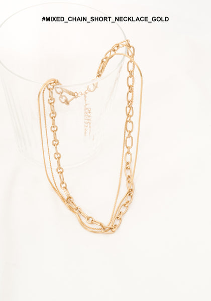 Mixed Chain Short Necklace Gold - whoami