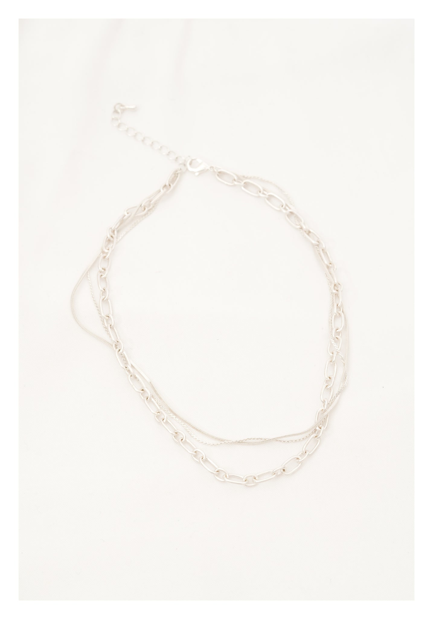 Mixed Chain Short Necklace Silver - whoami