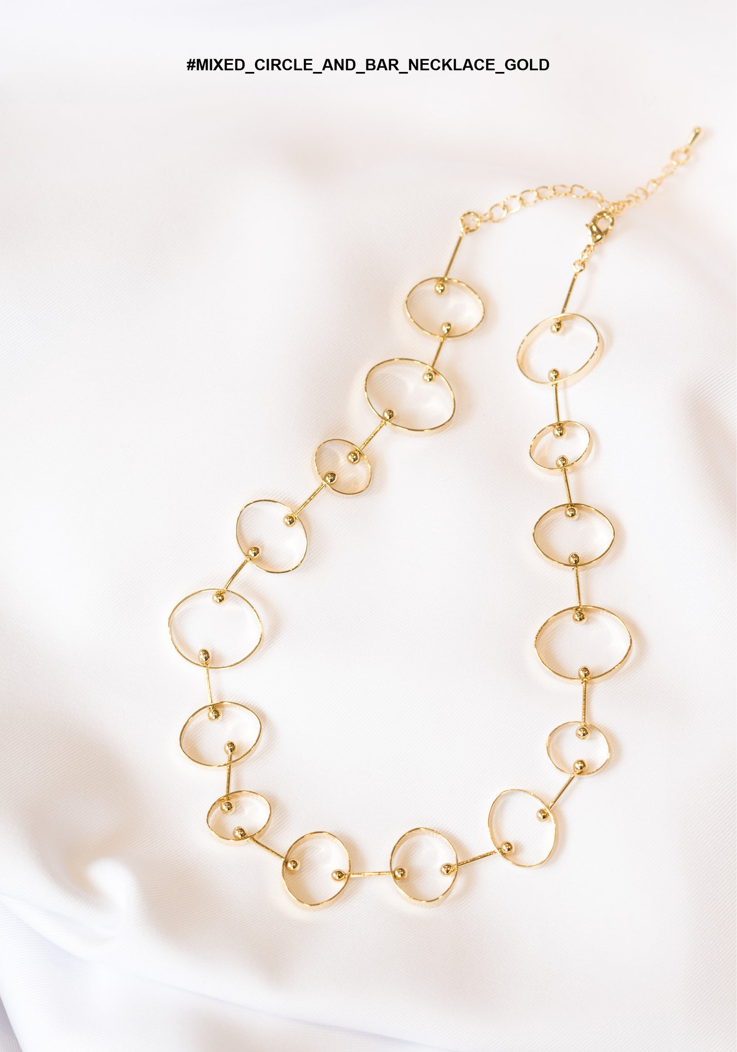 Mixed Circle And Bar Necklace Gold - whoami