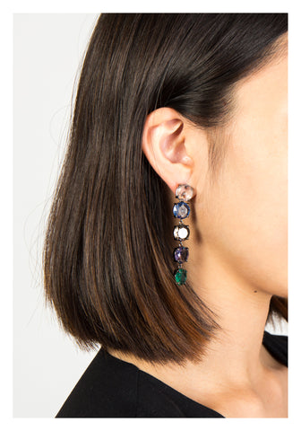 Mixed Colour Gem Long Earrings - whoami