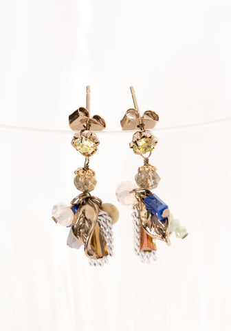 Mixed Colour Tiny Dripping Chain and Gem Earrings Pink - whoami