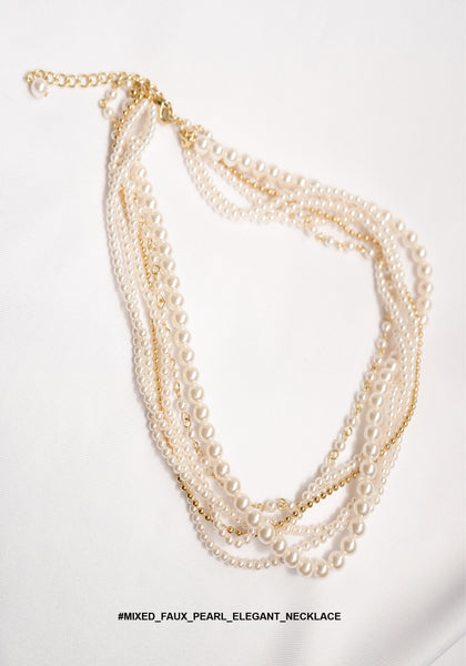 Mixed Faux Pearl Elegant Necklace - whoami