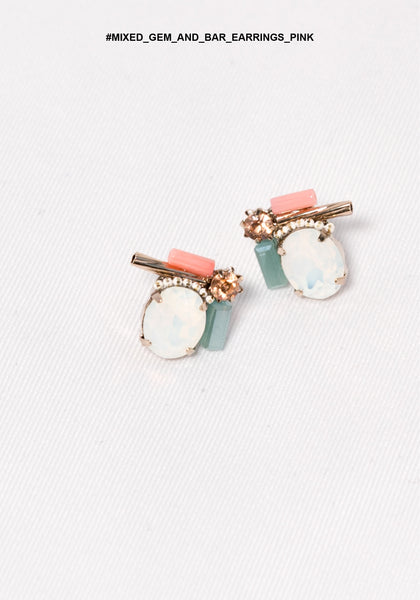 Mixed Gem And Bar Earrings Pink