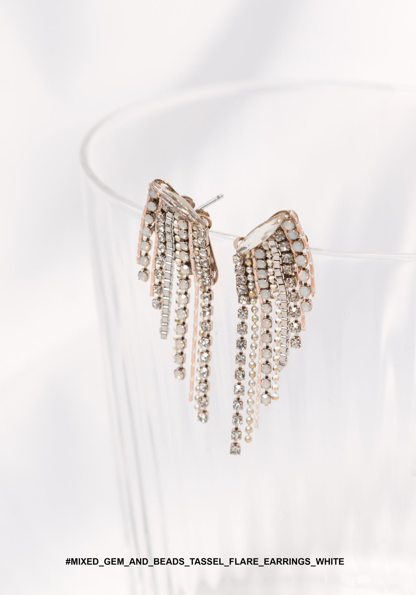 Mixed Gem And Beads Tassel Flare Earrings White - whoami