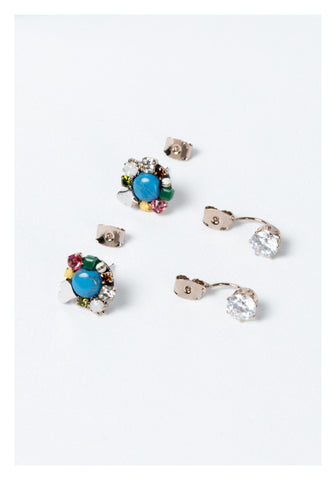 Mixed Gem and Heart Earrings Blue - whoami
