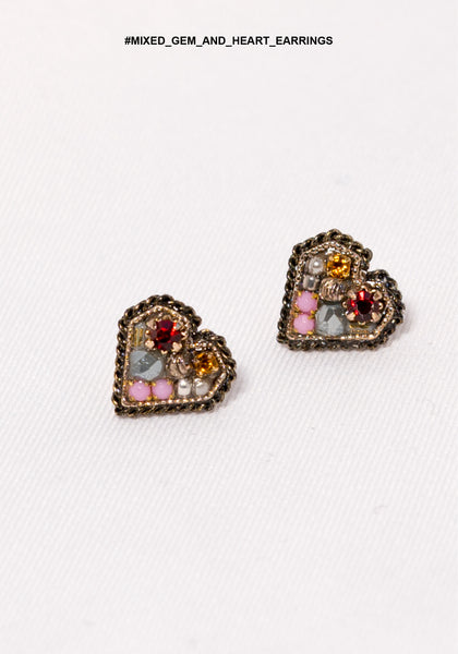 Mixed Gem And Heart Earrings