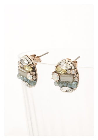 Mixed Gem Ellipse Puzzle Earrings Blue