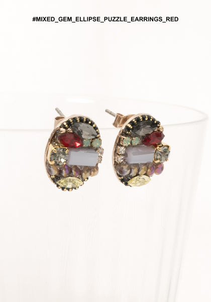 Mixed Gem EllipsePuzzle Earrings Red