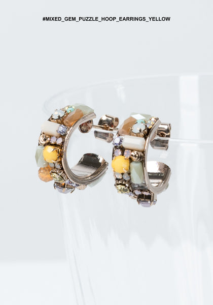 Mixed Gem Puzzle Hoop Earrings Yellow - whoami