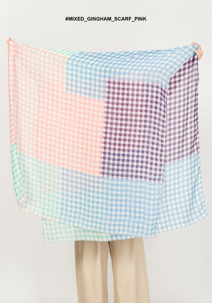 Mixed Colour Gingham Scarf Pink